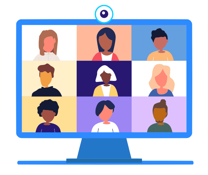 Graphic image showing faces on computer screen like a video conference or Zoom call